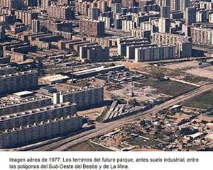 The factory in 1977 surrounded by new apartments